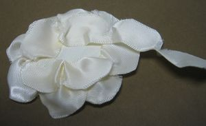 Satin flower attaching