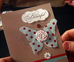 Sara - fabric butterfly card