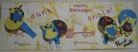 Angie's birthday card from Leach family inside