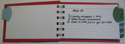 Christmas list notebook open - carmen