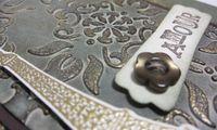 Artistic etchings patina card v - closeup