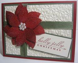 Poinsettia cards iridescent white shimmer