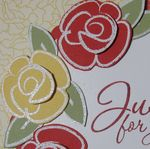 Flower fest white emboss closeup