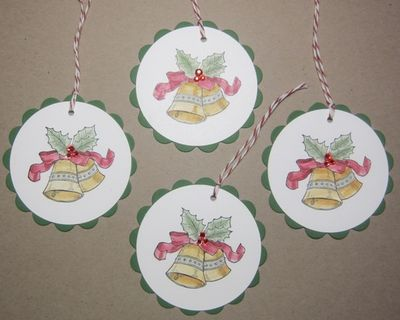 Bells & boughs scallop circle tags