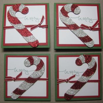 Glimmer candy cane tags