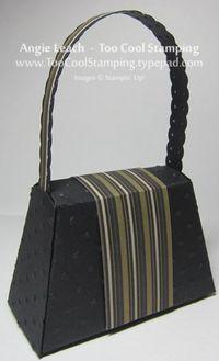Purse - black stripe flower back