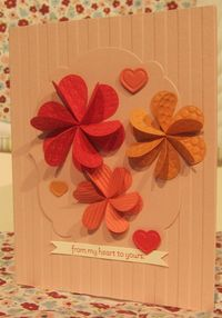1 unique - heart embosslit flowers