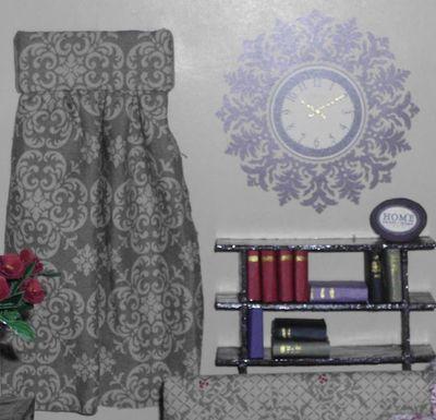 3 dollhouse - living room curtains clock bookshelf